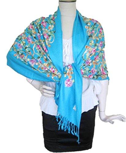 Summer Casual Muslim Dress with Jacquard Sleeve (Blue) - 9
