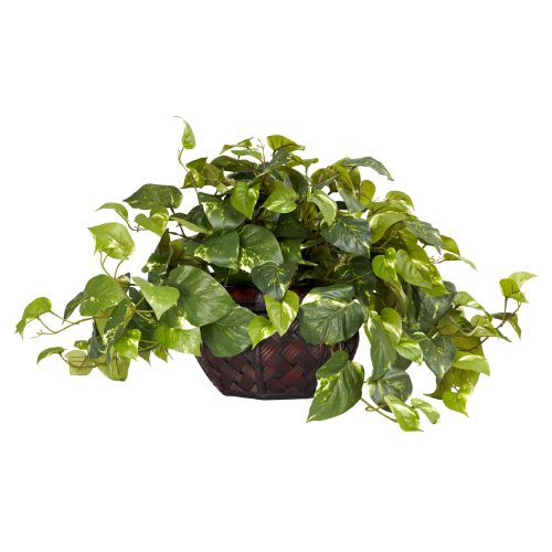 Nearly Natural 6681 Pothos with Vase Decorative Silk Plant, Green by Nearly Natural