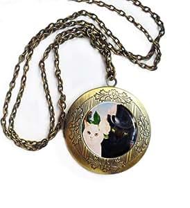 Gato pequeño redondo de bronce antiguo Collar Locket Cameo