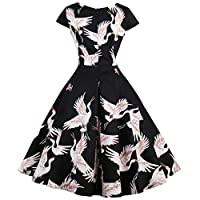 LaceLady BoatNeck Vintage Sleeveless Tea Dress with Belt Pleated Swing Party Floral 07L