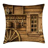 Ambesonne Western Throw Pillow Cushion Cover, Ancient Old Wagon Wheel Next to Rustic Wooden House Vintage Lantern Window Buckets Print, Decorative Square Accent Pillow Case, 24 X 24 inches, Brown For Sale