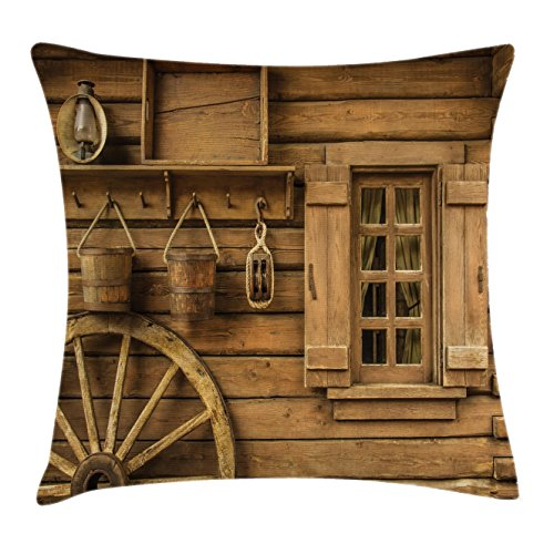 Western Throw Pillow Cushion Cover by Ambesonne, Ancient Old Wagon Wheel Next to Rustic Wooden House Vintage Lantern Window Buckets Print, Decorative Square Accent Pillow Case, 16 X 16 Inches, (Decorative Wagon Wheels)
