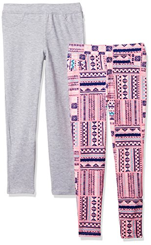 One Step Up Little Girls' 2 Pack French Terry Jegging, Pink/Grey Heather, 4