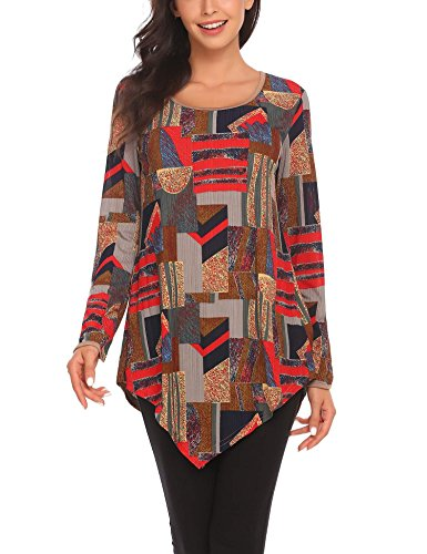 Elesol Women's 3/4 Sleeve Mesh Floral Print Irregular Hem Tunic Top Dark Brown - Prints Brown