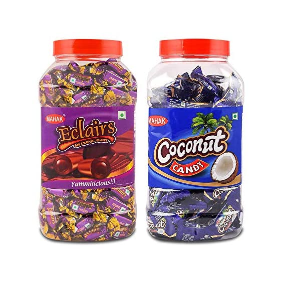 MAHAK Eclairs Candies Jar/ and Coconut Jar / Combo Pack of 2 jar / Chocolate Toffee / Milky / Coconut / Gift Pack(Eclair