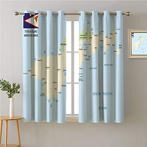 Jinguizi Samoa Grommet Room/Bedroom,,Detailed Cartographic Design of Tutuila Island Map with Flag,Image Darkening Curtains,63W x 45L -
