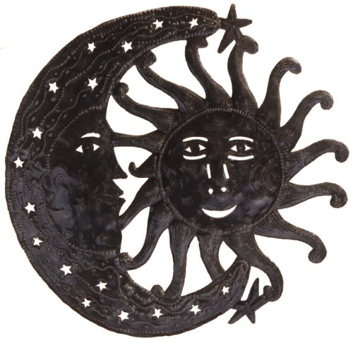 Le Primitif Galleries Haitian Recycled Steel Oil Drum Outdoor Decor, 23 by 23-Inch, Sun and Moon