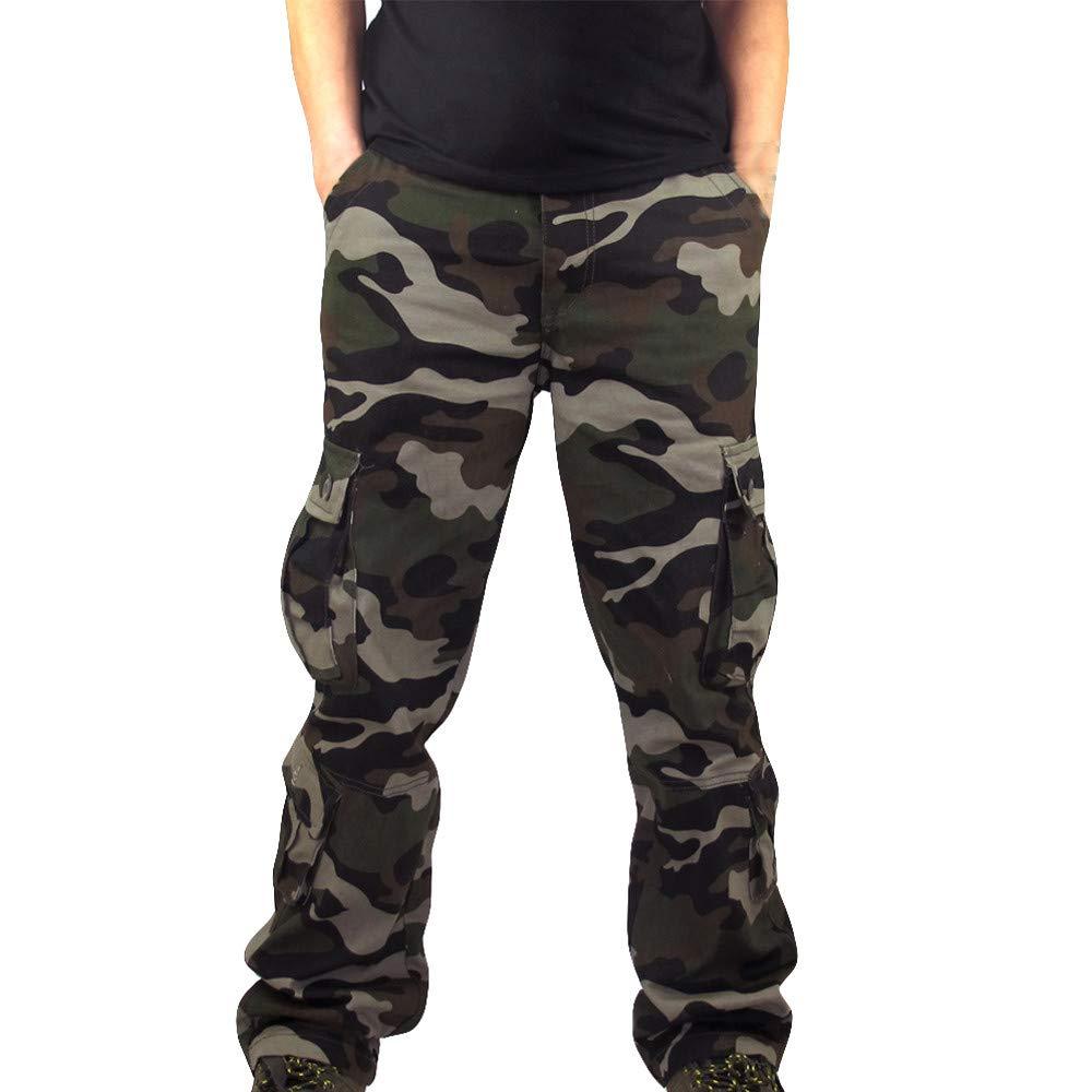 Teresamoon Men Camouflage Pocket Overalls Casual Pocket Sport Work Casual Trouser Pants