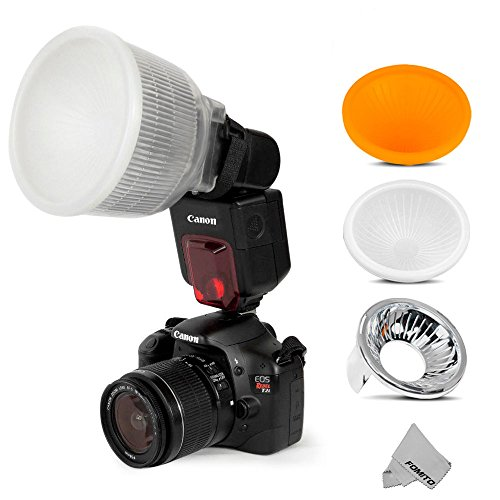 Fomito Universal Cloud Lambency Flash Diffuser + 3 pcs Covers White, Silver...