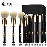 FEIYAN Premium Makeup Brushes Set Natural Goat Synthetic Hair Cosmetics Kabuki Foundation Blending Blush Face Eyeshadow Lip Eyeliner Concealer Powder Makeup Brush Kit with Pouch (11 pcs, Gold Black )