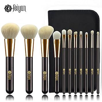 Set de brochas de maquillaje profesional FEIYAN Pinceles de maquillaje Set Premium Synthetic Foundation Brush Blending Face Powder Blush Concealers ...