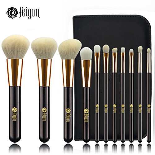 Feiyan profesional brochas de maquillaje de pelo de cabra natural 11piezas Face Sombra de Ojos Delineador de ojos Fundación Blush Lip Cepillos Herramienta