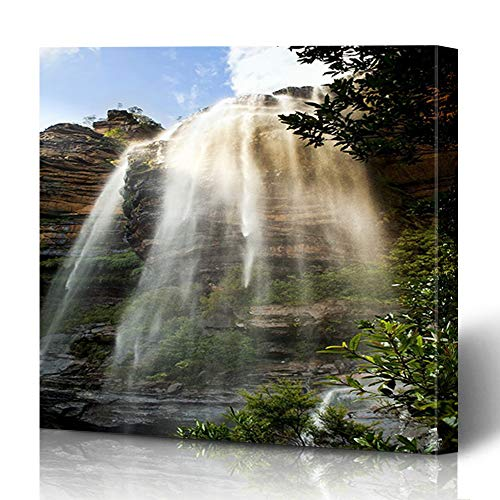 Onete Canvas Prints Painting Artwork 12x12 Australian Wentworth Falls Waterfall Blue Mountains Katoomba Australia Nature Parks Outdoor Design Wall Art Printing Home Bedroom Living Room Office Dorm (Australia Outdoor Furniture Cheap Online)