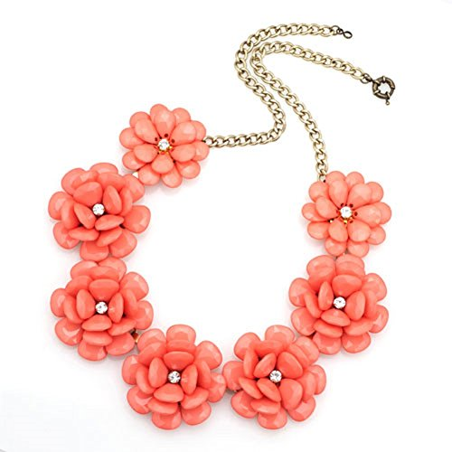 Corykeyes Colorful Flower Bib Bubble Chunky Statement Necklace (Orange)