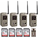 Cuddeback (4) 20MP Dual Flash Trail Cameras with CuddeLink Wireless Networks CL-Cap & SD Cards