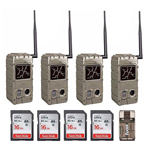 Cuddeback (4) 20MP Dual Flash Trail Cameras with CuddeLink Wireless Networks CL-Cap & SD Cards Cuddeback Digital Scouting Camera