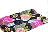 Handicrunch Queen bedspreads- Black bed cover- Kantha bedspread- Kantha quilt in floral pattern- Handmade light quilt- 110'' x 88'' bed spread- Black coverlet- Light blanket- Exquisite handmade hand sewn bed spreads