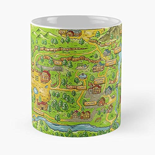 Stardew Valley Map Video - Best Gift Mugs Game Indie Farm Star Town Mountian Simple Colorful Wallet Ocean Mountain Tree House River Dock Best Personalized Gifts