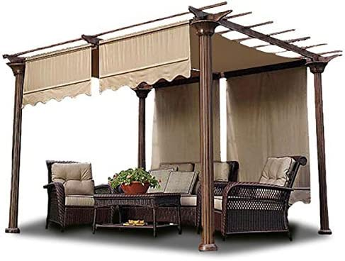 2 Pcs 15.5×4 Ft Patio Structure Shade Pergola Canopy Polyester Cover Replacement Valance Tan for Outdoor Accessories Gardening Picnic Relaxation