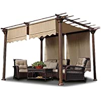 2 Pcs 15.5x4 Ft Patio Structure Shade Pergola Canopy Polyester Cover Replacement Valance Tan for Outdoor Accessories Gardening Picnic Relaxation