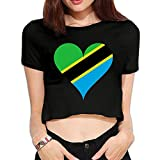 Women Girls Heart Love Tanzania East-Africa Sexy Bare Midriff Crop Top Dew Navel T-Shirt Black