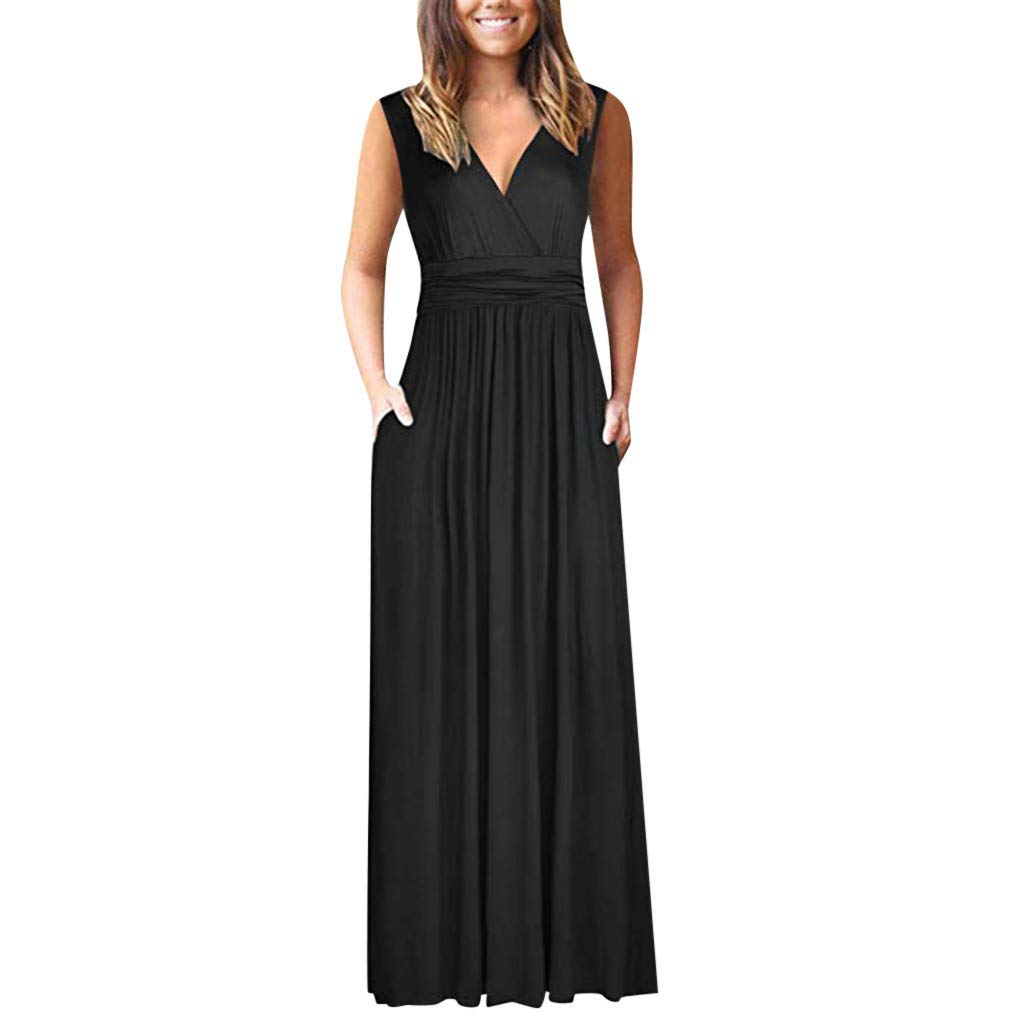 ZOMUSAR Fashion Women's Round Neck Solid Shortsleeve Maxi Dresses Casual Long Dresse with Pocket for Ladies Black