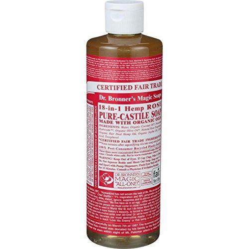 Dr. Bronner s Pure Castile Soap - Fair Trade and Organic - Liquid - 18 in 1 Hemp - Rose - 16 oz
