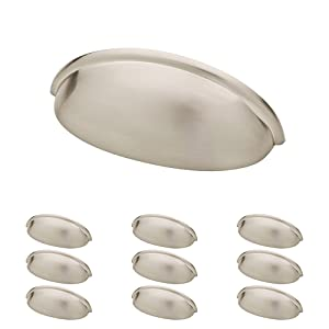"Franklin Brass P34702K-SN-B 3"" Contemporary Bin Cup Drawer Handle Pull, Satin Nickel, 10-Pack"