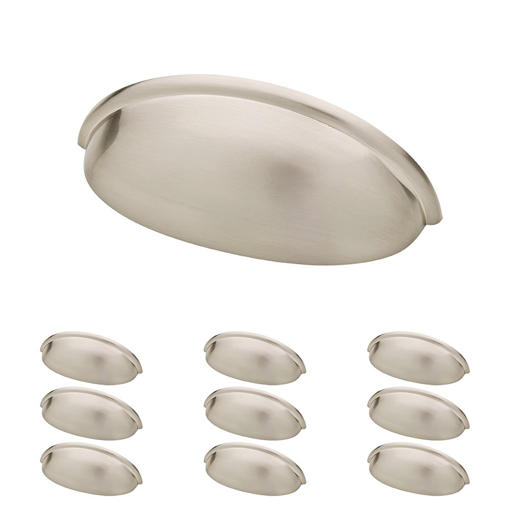 Franklin Brass P34702K-SN-B 3'' Contemporary Bin Cup Drawer Handle Pull, Satin Nickel, 10-Pack
