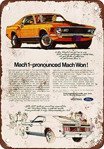 BVVC 1970 Mustang Mach 1 Vintage Look Reproduction Metal Tin Sign 7.8inch11.8inches