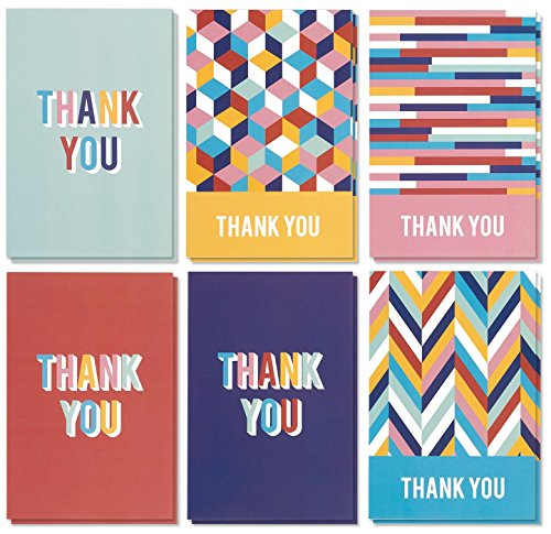 Thank You Cards – 48-Count Thank You Notes, Bulk Thank You Cards, Blank on The Inside, Colorful Geometric Patterns, Includes White Envelopes, 4 x 6 Inches