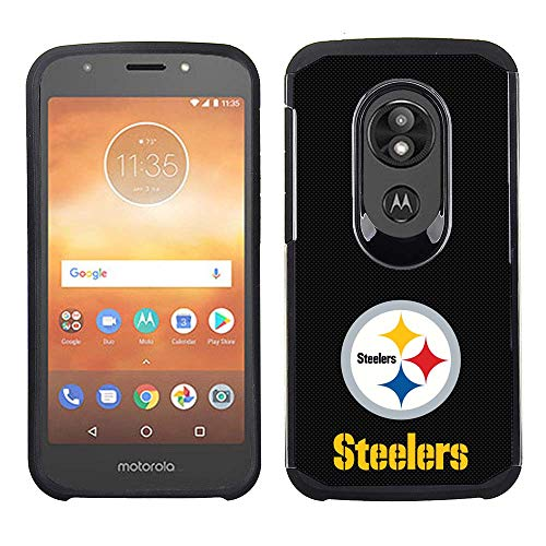 Prime Brands Group Cell Phone Case for Motorola Moto E5 Cruise/E5 Play - NFL Licensed Pittsburgh Steelers - Black Textured Back Cover on Black TPU Skin