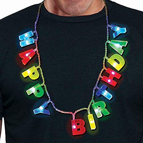Happy Birthday Multicolored Light Up LED Necklace with Light-up Letters - 3 Lighting Modes - Wearable 21st Birthday Gift for All Ages -