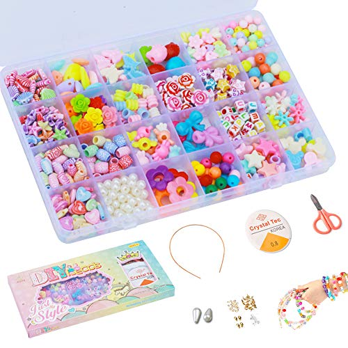 Aster Bibivisa DIY Beads Set(600+pcs) for Kids, Craft Toys Jewelry Making Kits DIY Bracelets Necklaces Pearls Beads 24 Shapes of Kitty, Bows, Flowers - Gift for Girls 4 Years up (Princess Style Box)