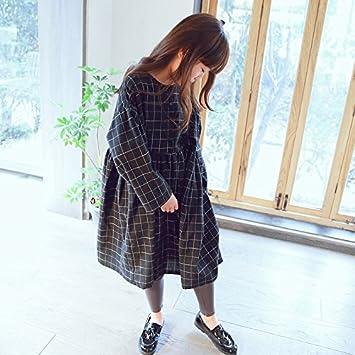XIU*RONG Vestido De Chica Manga Larga Falda De Raso Negro 110Cm Negro