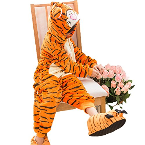 [I'MQueen Homewear Tigger Kids Animal Costumes Childrens Plush One Piece Pajamas] (Tigger Costume Teenager)