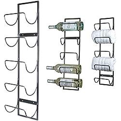 5 Bottle Wall Mounted Metal Wine Rack, Towel Rack