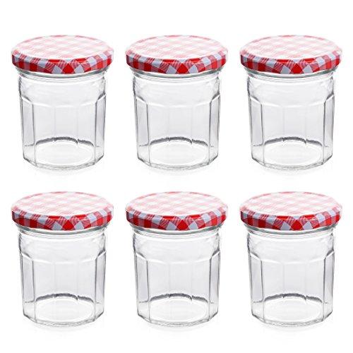 Klean Shop Jam Jars With Lids – Red Lid Jam Jar Set – Fruit Mason Jar – Glass Jam Canning Jars – DIY 8oz (250ml), 6 Pack Jars- Perfect for Jam Storing, Pickles and Many Other
