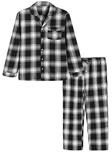 (Latuza Men's Cotton Pajama Set Plaid Woven Sleepwear M Black)