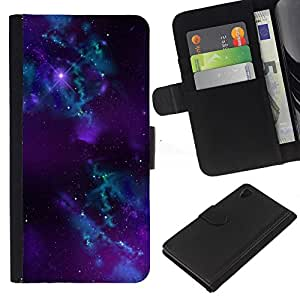 Sony Xperia Z4 / Sony Xperia Z4V / E6508 , la tarjeta de Crédito Slots PU Funda de cuero Monedero caso cubierta de piel ( Nebula Galaxy Stardust Purple Universe Gas)