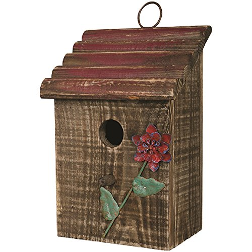 Flower Birdhouse - Carson Red Flower Birdhouse 5.75 Inches Length x 4.75 Inches Width x 10 Inches Height Wood Home Decor