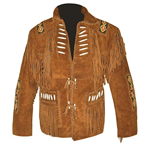 MSHC Western Cowboy Men's Bone & Fringed Suede Leather Jacket D4 - Camel Brown V1 - XL