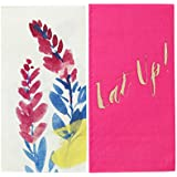 Talking Tables Fluorescent Floral Floral Duo Napkins for a BBQ, Luau, or Summer Party, Multicolor (20 Pack)
