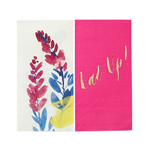 Talking Tables Fluorescent Floral Floral Duo Napkins for a BBQ, Luau, or Summer Party, Multicolor (20 Pack) -