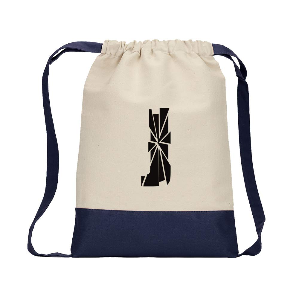 ''J'' Glass Initial Monogram Letter J Cotton Canvas Color Drawstring Bag Backpack - Navy by Style in Print