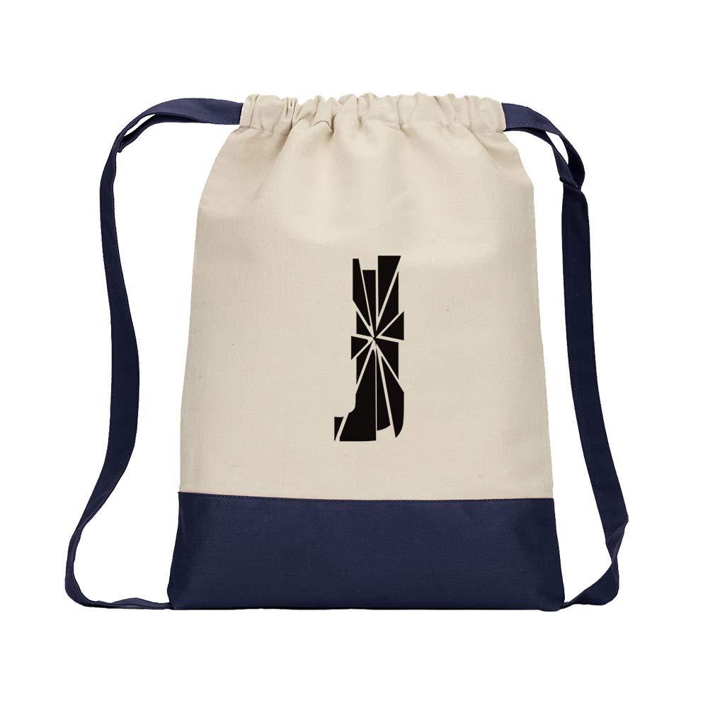 ''J'' Glass Initial Monogram Letter J Cotton Canvas Color Drawstring Bag Backpack - Navy