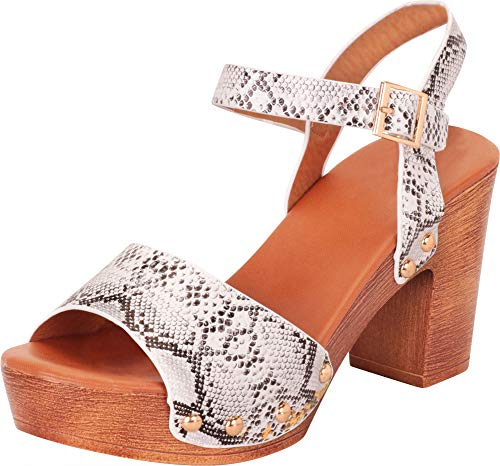 Cambridge Select Women's Retro 70s Open Toe Studded Chunky Platform Block Heel Sandal,7.5 B(M) US,Snake PU
