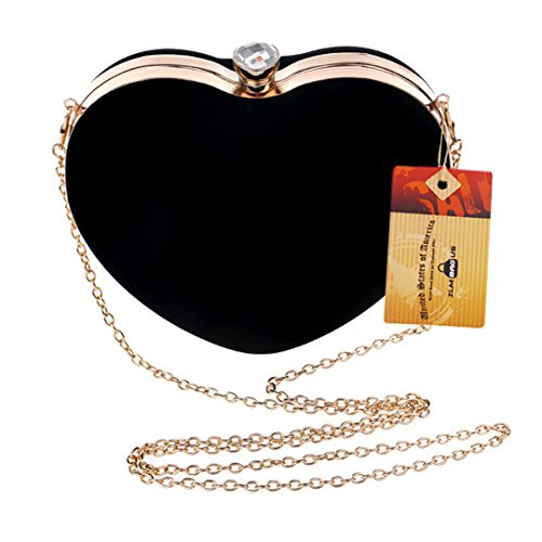 Shoulder Shape Clutch Handbag ZLMBAGUS Velvet Exquisite Tote Heart Evening Black Bag Chain Women XSqRwvqt