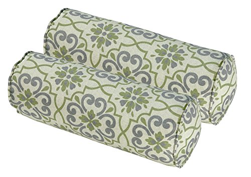 Bossima Indoor Outdoor Green grey Damask Round Bolster Pillow, Corded Cushion Set of 2