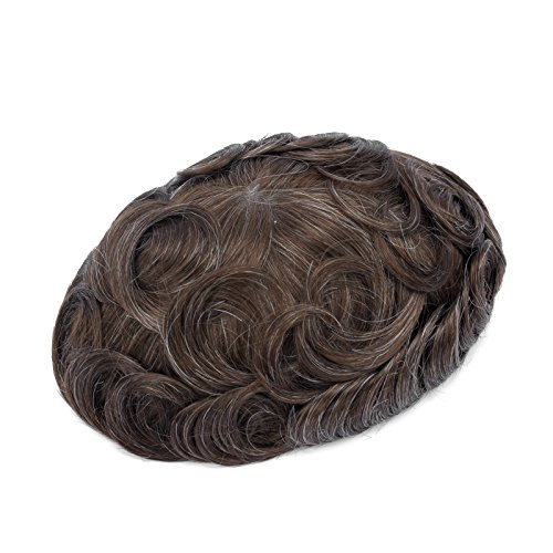GEX 56 Colors Men's HairPiece Toupee Human Hair Replacement Systems French Lace Base Slight Wave Medium Density Vivid Men's Wig French Lace(420) Lace Hair Systems